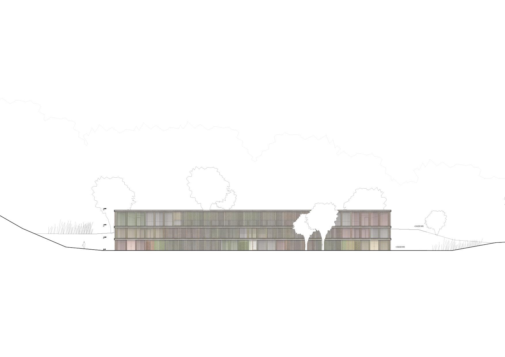 KUBIK Architektur - Studio für Architektur Berlin - architecture - Projekt - Meditationszentrum - Ansicht - Schnitt
