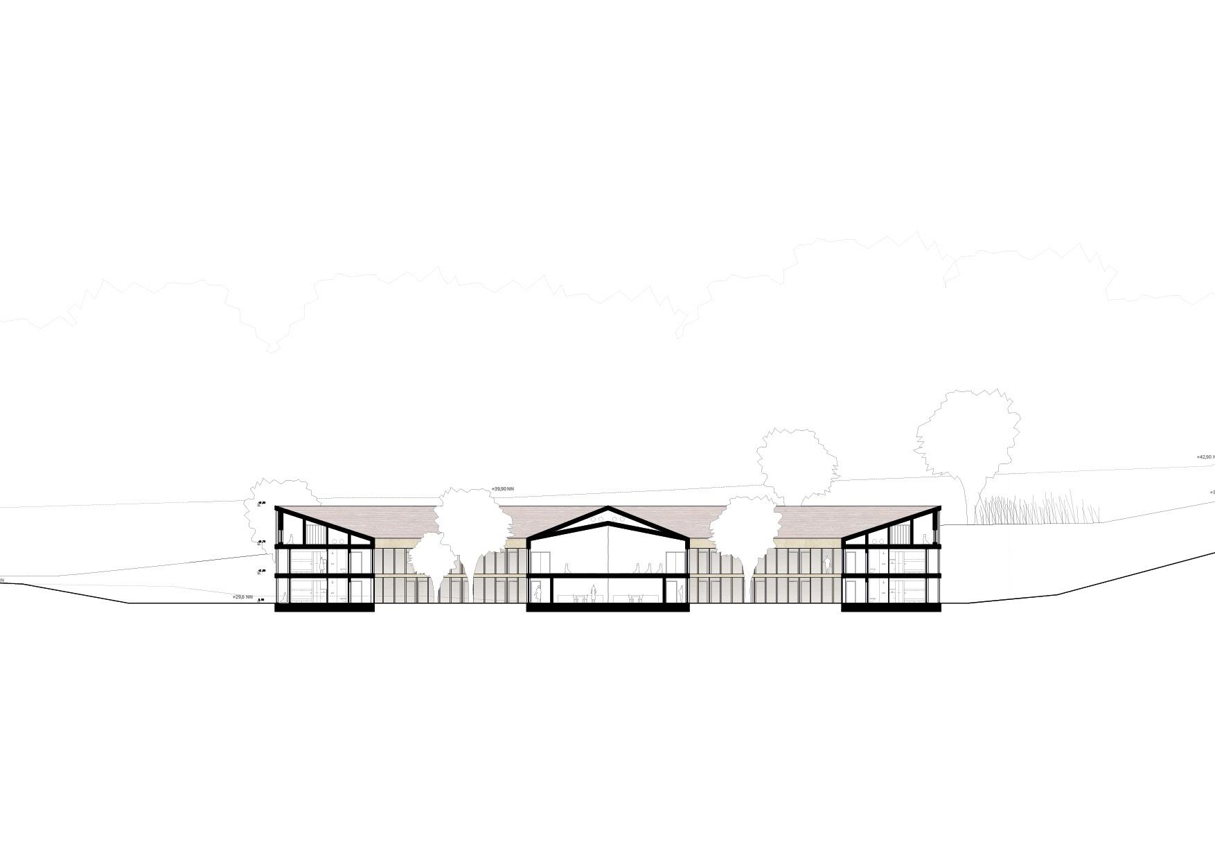 KUBIK Architektur - Studio für Architektur Berlin - architecture - Projekt - Meditationszentrum - Schnitt