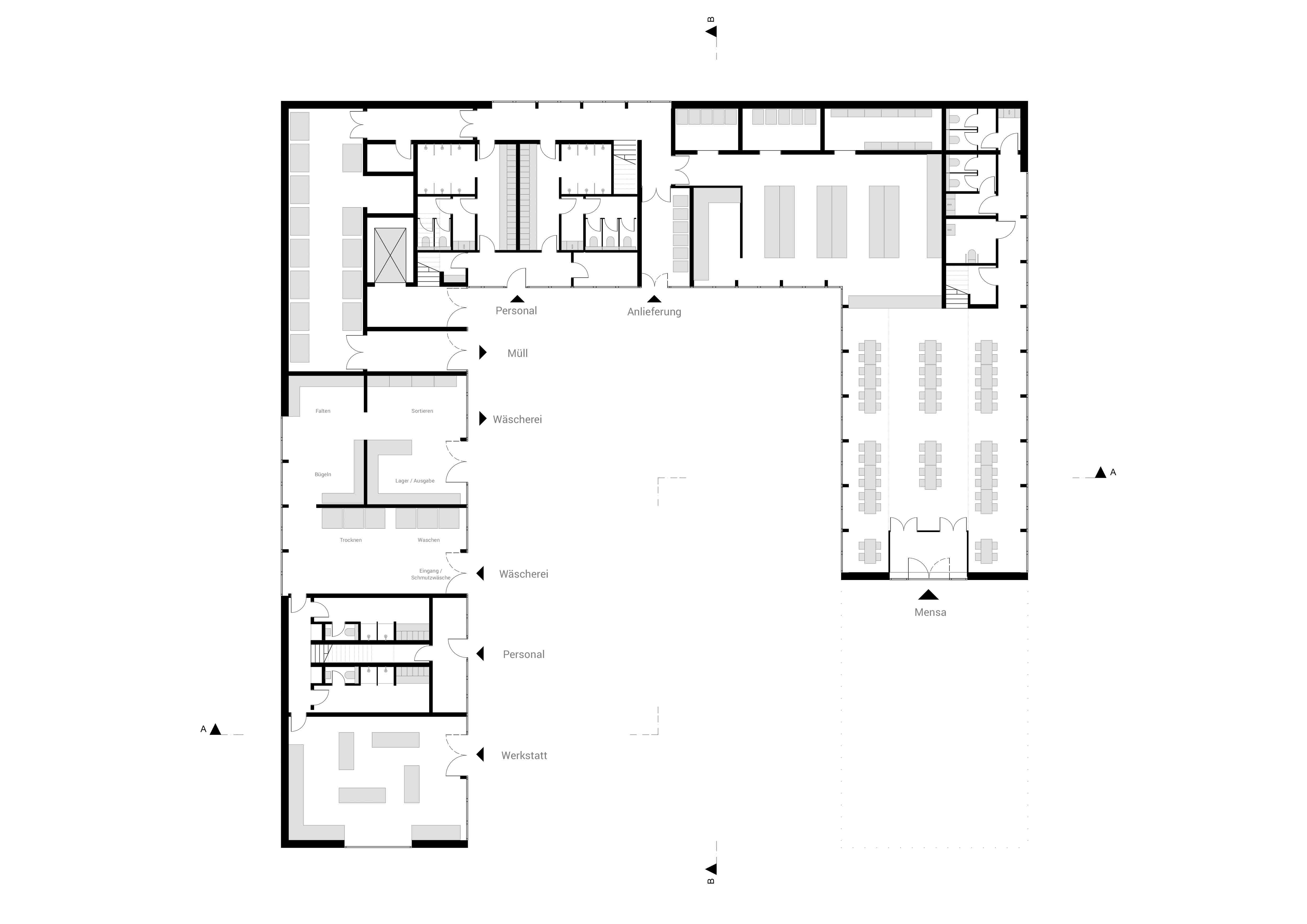KUBIK Architektur - Studio für Architektur Berlin - architecture - Projekt- Hotellogistik - Grundriss