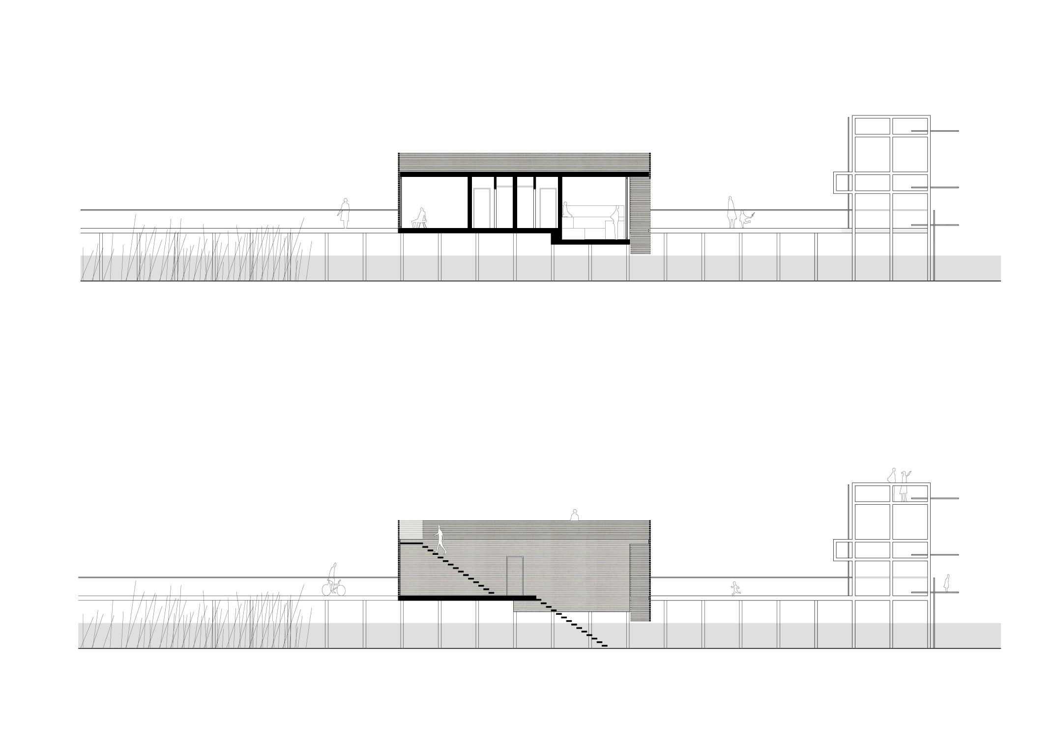 KUBIK Architektur - Studio für Architektur Berlin - architecture - Projekt - Seesauna - Schnitt