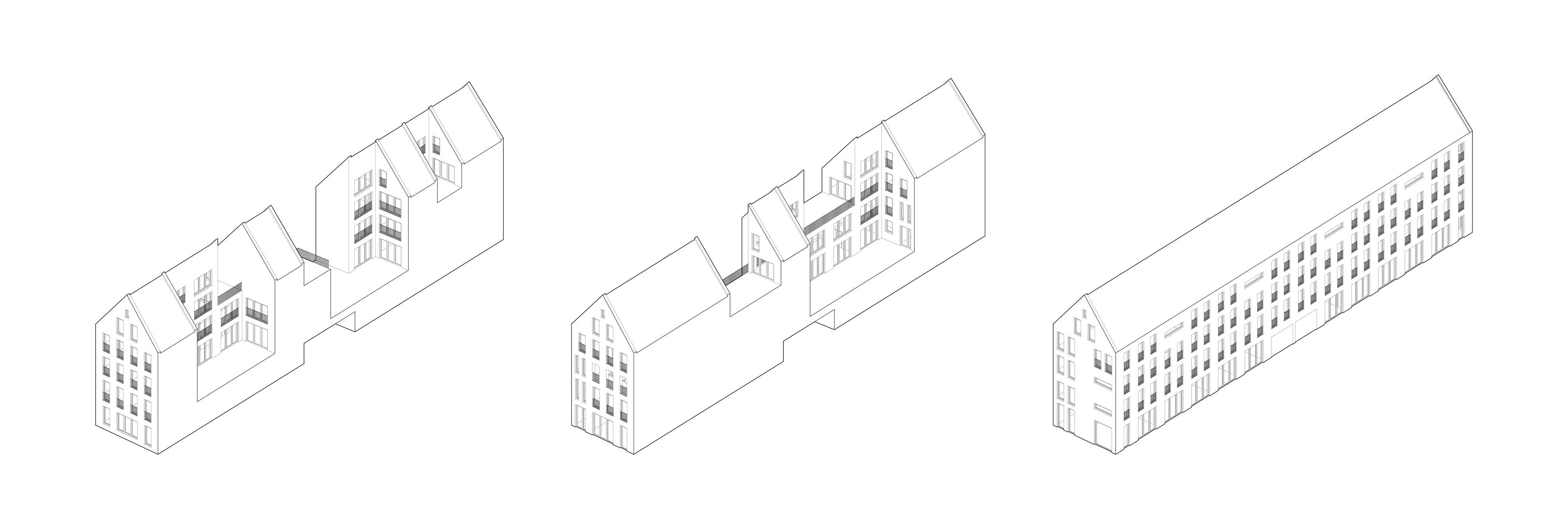 KUBIK Architektur - Studio für Architektur Berlin - architecture - Wettbewerb - Wohnbau - Gruenderzentrum Luebeck - Isometrie