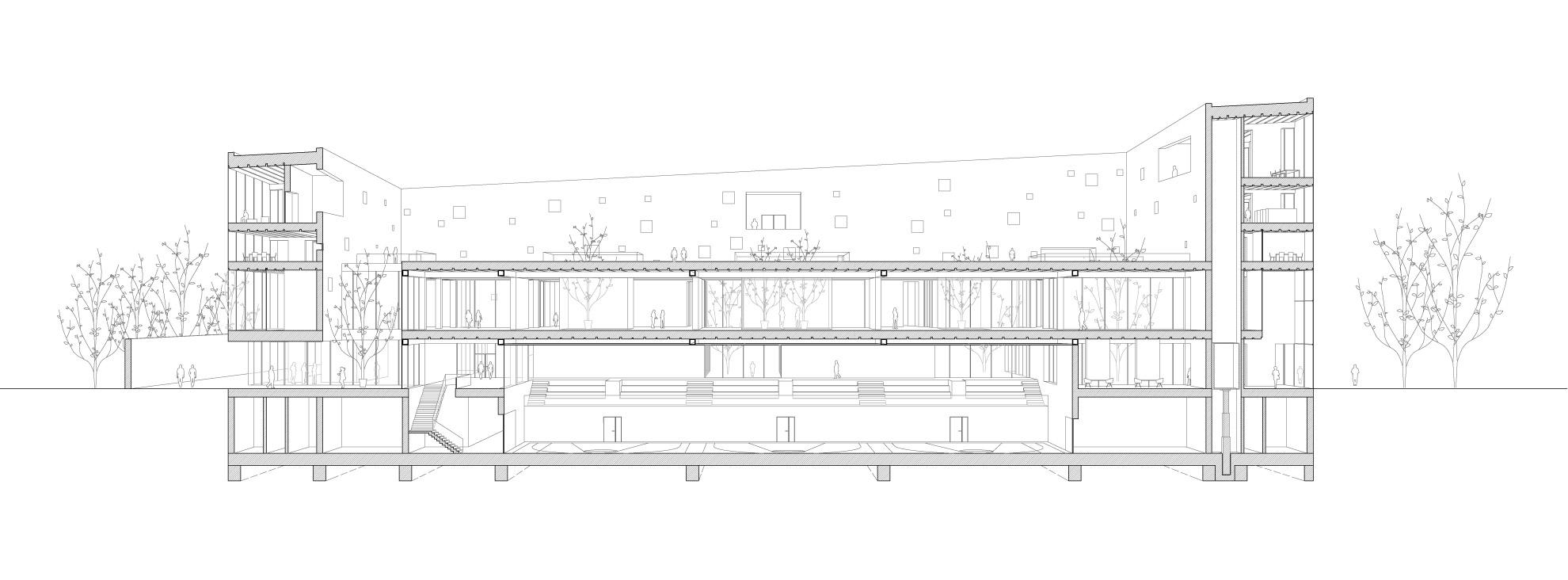 KUBIK Architektur - Studio für Architektur Berlin - architecture - Wettbewerb - Kulturzentrum - Spektrum Spandau - Schnitt